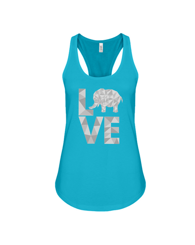 Elephant Love Tank-Top - Gray - Turquoise / S - Clothing elephants womens t-shirts