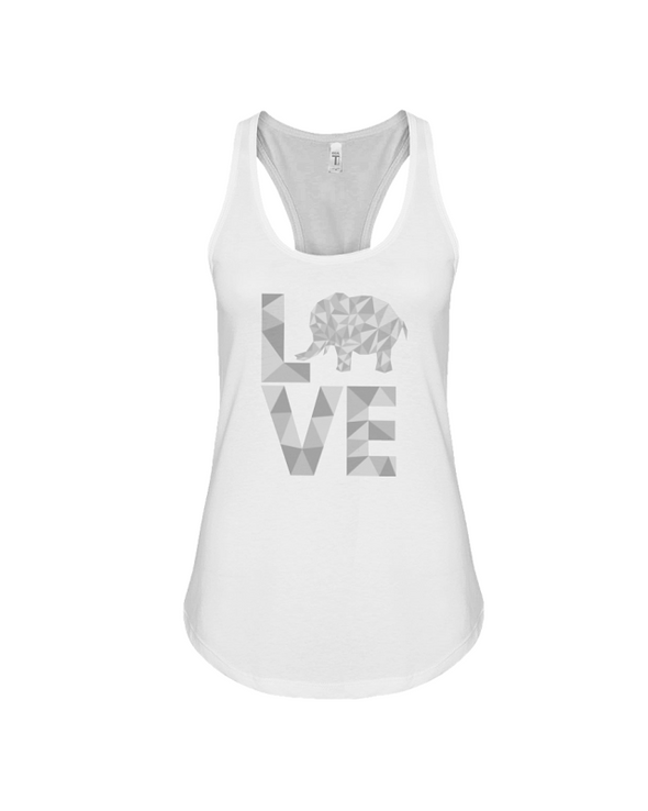 Elephant Love Tank-Top - Gray - White / S - Clothing elephants womens t-shirts