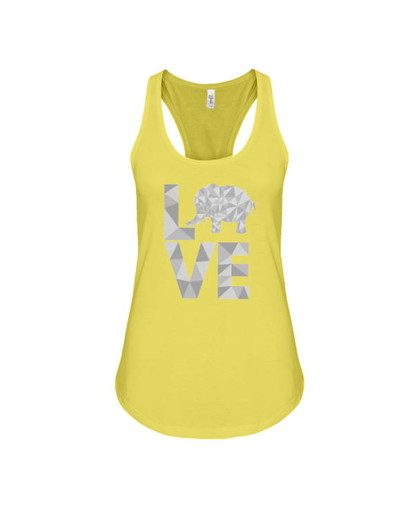 Elephant Love Tank-Top - Gray - Yellow / S - Clothing elephants womens t-shirts