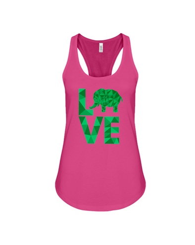 Elephant Love Tank-Top - Green - Berry / S - Clothing elephants womens t-shirts