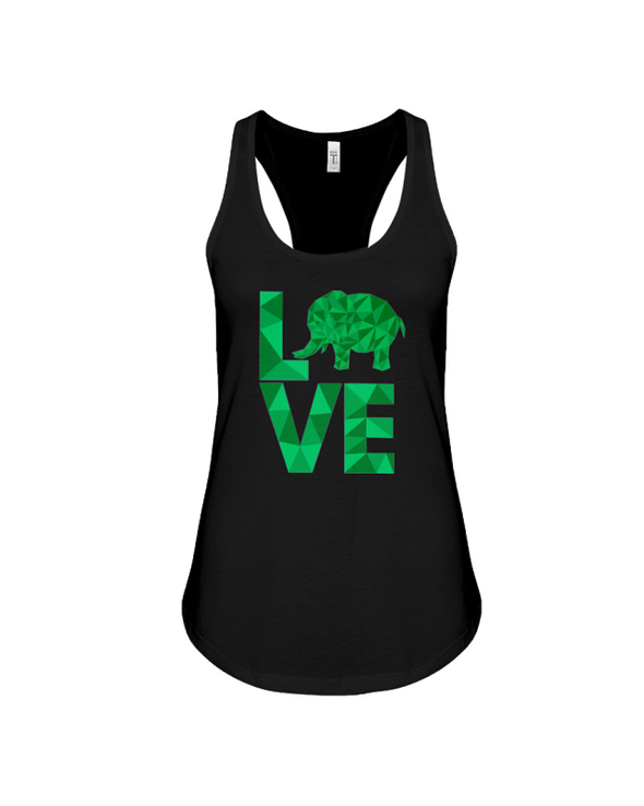 Elephant Love Tank-Top - Green - Black / S - Clothing elephants womens t-shirts