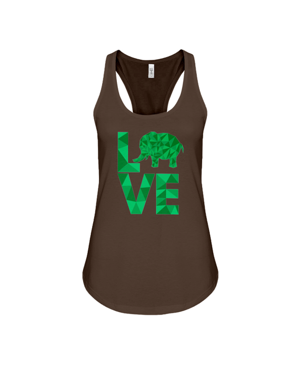 Elephant Love Tank-Top - Green - Chocolate / S - Clothing elephants womens t-shirts