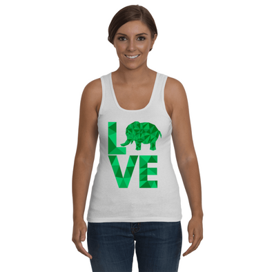 Elephant Love Tank-Top - Green - Clothing elephants womens t-shirts