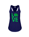 Elephant Love Tank-Top - Green - Navy / S - Clothing elephants womens t-shirts