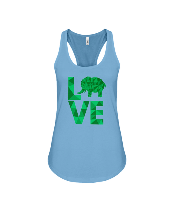 Elephant Love Tank-Top - Green - Ocean Blue / S - Clothing elephants womens t-shirts