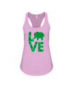 Elephant Love Tank-Top - Green - Soft Pink / S - Clothing elephants womens t-shirts