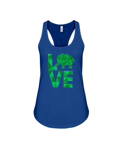 Elephant Love Tank-Top - Green - True Royal / S - Clothing elephants womens t-shirts