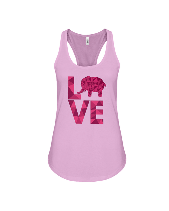 Elephant Love Tank-Top - Hot Pink - Soft Pink / S - Clothing elephants womens t-shirts
