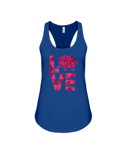 Elephant Love Tank-Top - Hot Pink - True Royal / S - Clothing elephants womens t-shirts