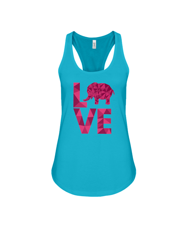 Elephant Love Tank-Top - Hot Pink - Turquoise / S - Clothing elephants womens t-shirts