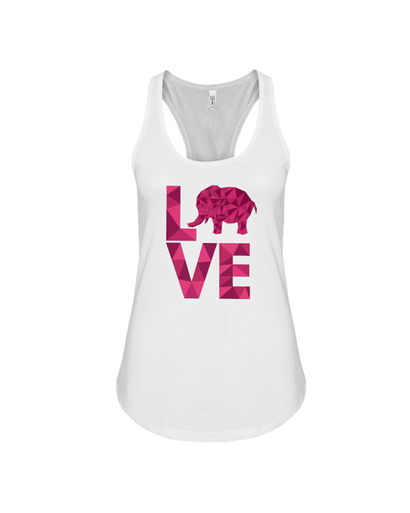 Elephant Love Tank-Top - Hot Pink - White / S - Clothing elephants womens t-shirts