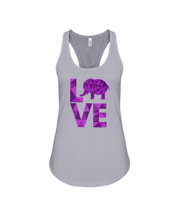 Elephant Love Tank-Top - Purple - Athletic Heather / S - Clothing elephants womens t-shirts