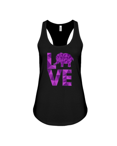 Elephant Love Tank-Top - Purple - Black / S - Clothing elephants womens t-shirts