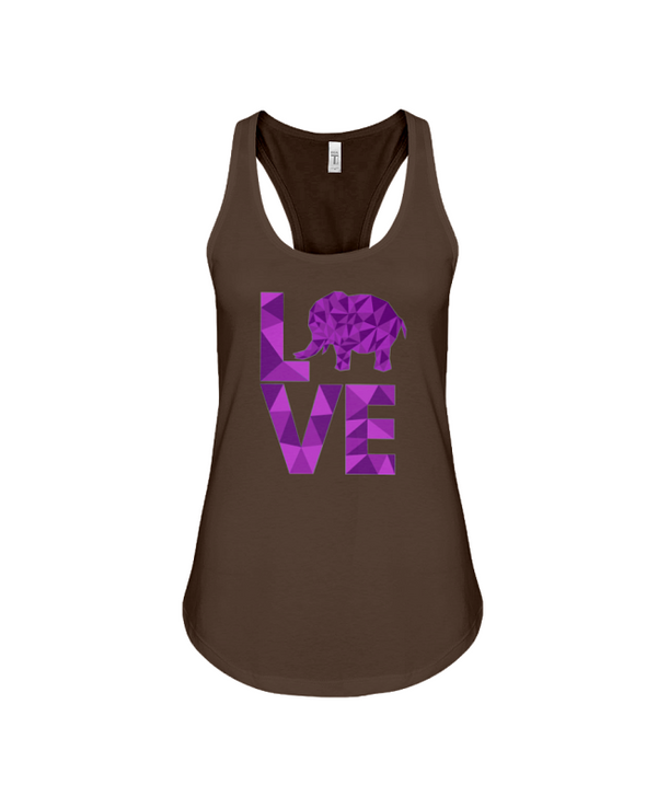 Elephant Love Tank-Top - Purple - Chocolate / S - Clothing elephants womens t-shirts