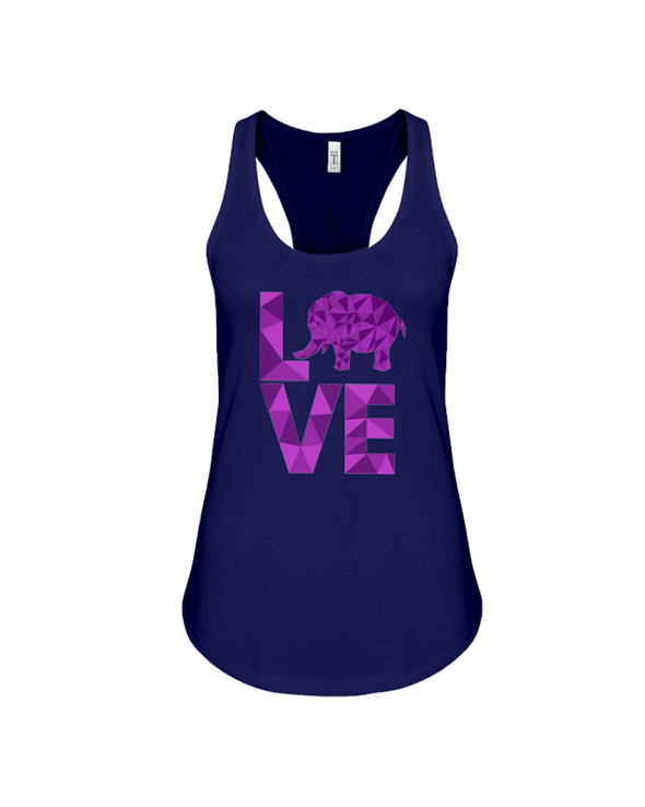 Elephant Love Tank-Top - Purple - Navy / S - Clothing elephants womens t-shirts