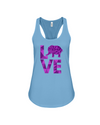 Elephant Love Tank-Top - Purple - Ocean Blue / S - Clothing elephants womens t-shirts