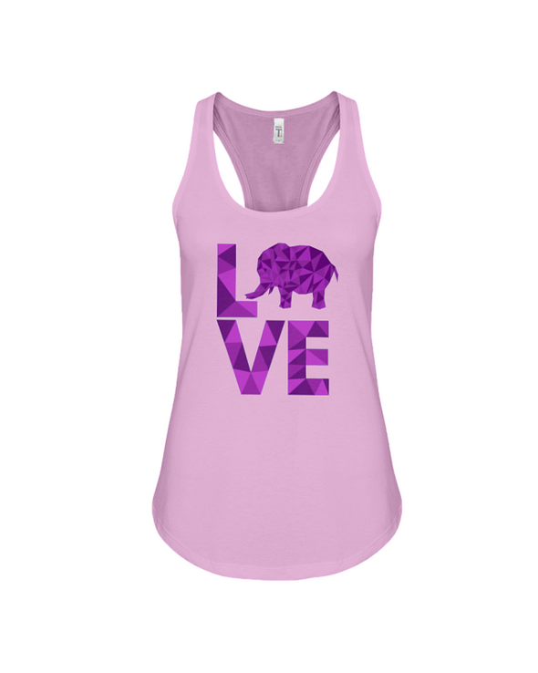 Elephant Love Tank-Top - Purple - Soft Pink / S - Clothing elephants womens t-shirts