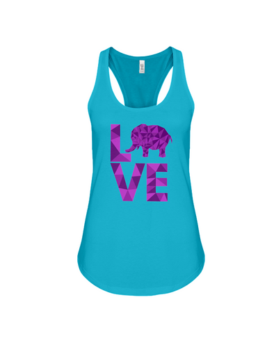Elephant Love Tank-Top - Purple - Turquoise / S - Clothing elephants womens t-shirts