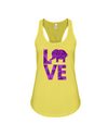 Elephant Love Tank-Top - Purple - Yellow / S - Clothing elephants womens t-shirts