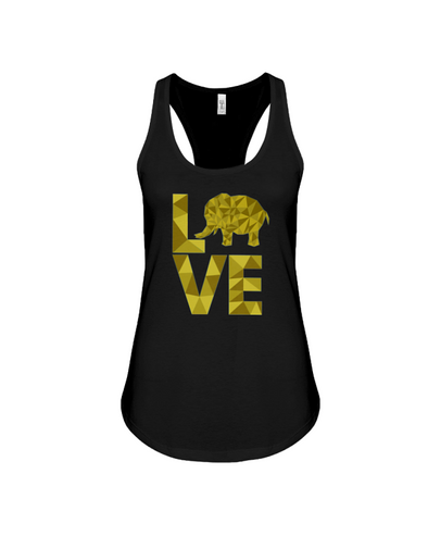 Elephant Love Tank-Top - Yellow - Black / S - Clothing elephants womens t-shirts