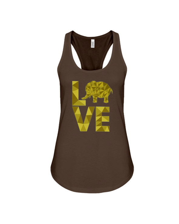 Elephant Love Tank-Top - Yellow - Chocolate / S - Clothing elephants womens t-shirts