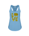 Elephant Love Tank-Top - Yellow - Ocean Blue / S - Clothing elephants womens t-shirts