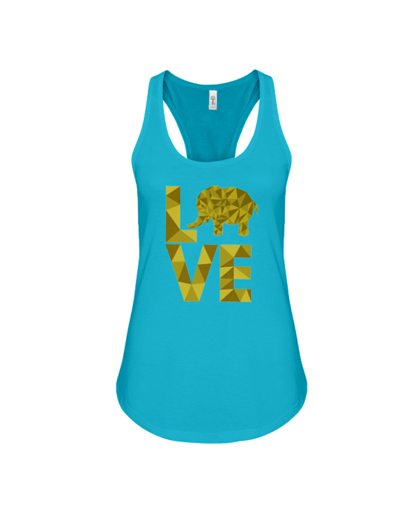 Elephant Love Tank-Top - Yellow - Turquoise / S - Clothing elephants womens t-shirts