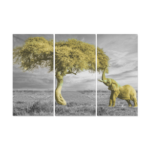 Elephant & Tree - Canvas Wall Art - Elephant and Tree Yellow - Wall Art canvas prints elephants trees