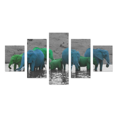 Elephants In The Water - Canvas Wall Art - Green/Blue Elephants - Wall Art canvas prints elephants