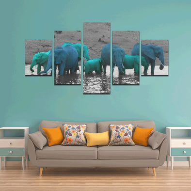 Elephants In The Water - Canvas Wall Art - Wall Art canvas prints elephants