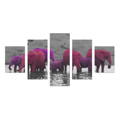 Elephants In The Water - Canvas Wall Art - Purple/Pink Elephants - Wall Art canvas prints elephants
