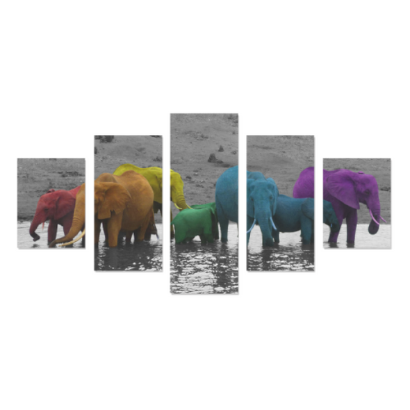 Elephants In The Water - Canvas Wall Art - Rainbow Elephants - Wall Art canvas prints elephants