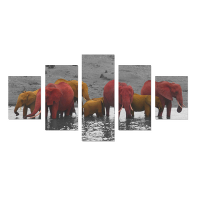 Elephants In The Water - Canvas Wall Art - Red/Orange Elephants - Wall Art canvas prints elephants