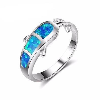 Fire Blue Opal & Sterling Silver Dolphin Ring - 6 - Jewelry dolphins opal rings
