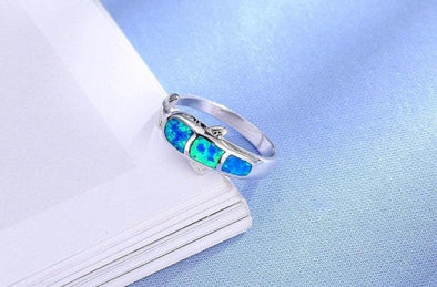 Fire Blue Opal & Sterling Silver Dolphin Ring - Jewelry dolphins opal rings