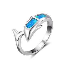 Fire Blue Opal & Sterling Silver Dolphin & Tail Ring - 6 - Jewelry Dolphins Opal Rings