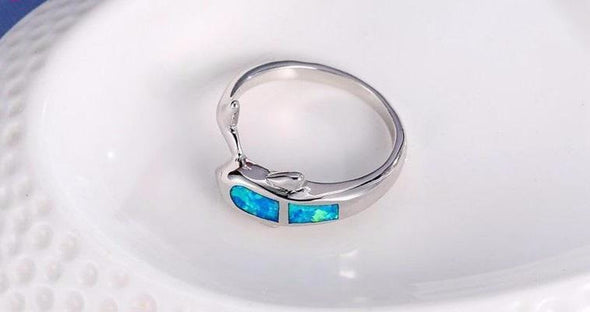 Fire Blue Opal & Sterling Silver Dolphin & Tail Ring - Jewelry Dolphins Opal Rings