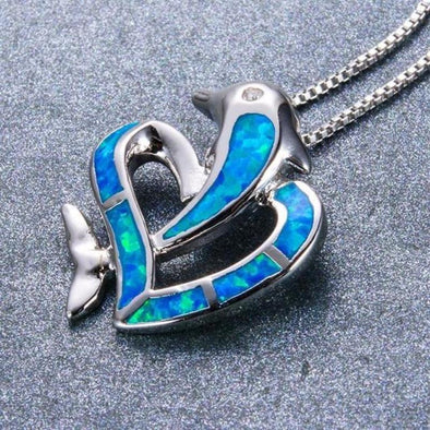 Fire Blue/green Opal & Sterling Silver Dolphin Heart Necklace - Jewelry Dolphins Necklaces Opal