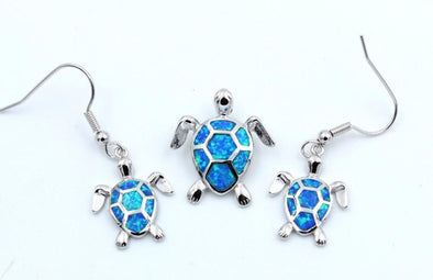 Fire Blue/White/Pink/Green Opal Turtle Pendant & Necklace with Matching Earrings - Blue - Jewelry earrings necklaces opal turtles