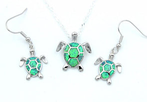Fire Blue/White/Pink/Green Opal Turtle Pendant & Necklace with Matching Earrings - Green - Jewelry earrings necklaces opal turtles