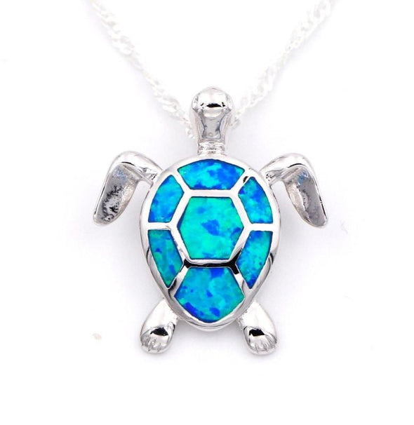 Fire Blue/White/Pink/Green Opal Turtle Pendant & Necklace with Matching Earrings - Jewelry earrings necklaces opal turtles