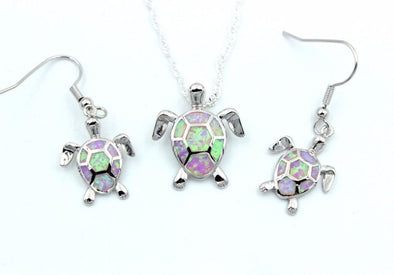 Fire Blue/White/Pink/Green Opal Turtle Pendant & Necklace with Matching Earrings - Pink - Jewelry earrings necklaces opal turtles