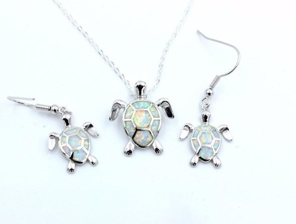 Fire Blue/White/Pink/Green Opal Turtle Pendant & Necklace with Matching Earrings - White - Jewelry earrings necklaces opal turtles
