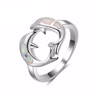 Fire White Opal & Sterling Silver Twin Dolphins Ring - 6 - Jewelry Dolphins Opal Rings