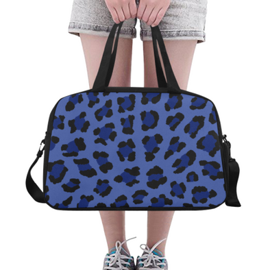 Fitness and Travel Bag - Custom Leopard Pattern - Blue Leopard - Accessories bags leopards