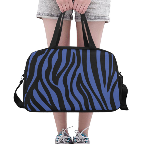Fitness and Travel Bag - Custom Zebra Pattern - Blue Zebra - Accessories bags zebras