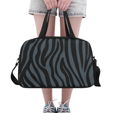 Fitness and Travel Bag - Custom Zebra Pattern - Charcoal Zebra - Accessories bags zebras
