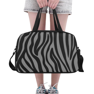 Fitness and Travel Bag - Custom Zebra Pattern - Gray Zebra - Accessories bags zebras