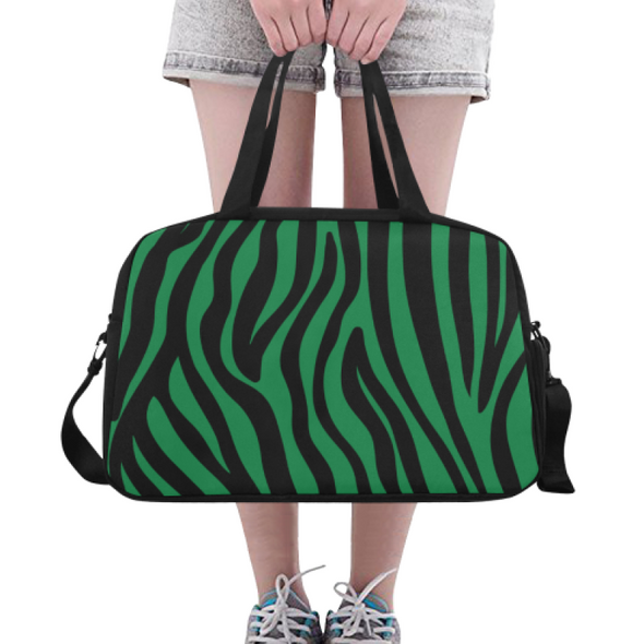 Fitness and Travel Bag - Custom Zebra Pattern - Green Zebra - Accessories bags zebras