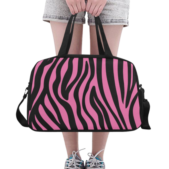 Fitness and Travel Bag - Custom Zebra Pattern - Hot Pink Zebra - Accessories bags zebras